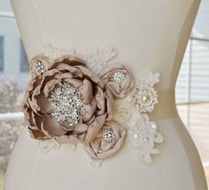 Taupe Blush and Ivory Bridal Sash - Vintage Lace Flower Bridal Wedding Belt - Super cute! Wedding Belts, Wedding Sash, Bridal Sash, Wedding Dress, Bridal Belts, Bridal Bouquets, Embroidery Fashion, Beaded Embroidery, Beaded Appliques