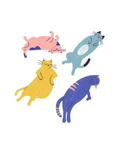 Sleepy Cats / Minimalist / Flat / Illustration / Home Decor / Sleepy Cat, Flat Illustration, Character Illustration, Cat Drawing, Cat Art, Baby Animals, Sleepy Animals, Wall Art Prints, Character Design
