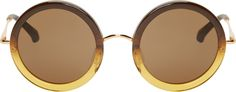 The Row Ochre Gradient Round Sunglasses
