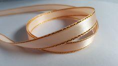 3m Satin Ribbon - Gold-Edged - 10mm - Peach