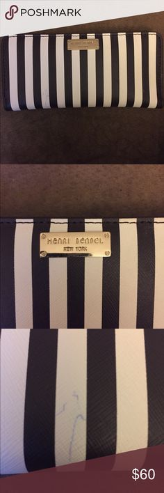 Henri Bendel West 57th single snap wallet Great condition leather Henri Bendel West 57th single snap wallet in brown and white stripe. Single snap closure. 2 open pockets and 1 zip pocket. 10 card slots. 2 blue pen marks (see pics) are the only flaws. No trades. henri bendel Bags Wallets