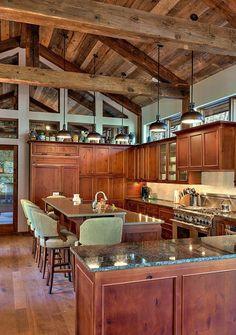 meubles de cuisine en bois foncé, meubles de cuisine en bois massif