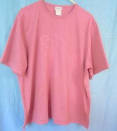 BON WORTH PINK Top / Blouse Short Sleeves Size: L Polyester/Cotton  #BONWORTH #Pullover #Casual