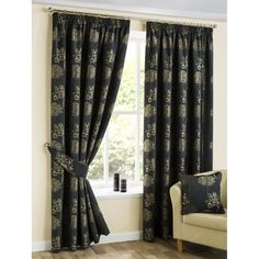 Belfield furnishings Arden jet black pencil readymade curtains. Available now at www.emporiumhomeinteriors.co.uk #curtains #homedecor #home