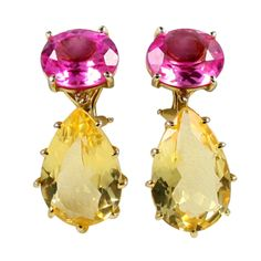 1stdibs.com | Multi Prong Drop Gold  Earring with Pink Topaz and Citrine