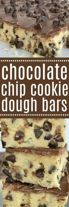 If your favorite part of making cookies is the dough then you will LOVE these no bake chocolate chip cookie dough bars! Such a fun & sweet dessert recipe that will satisfy any sugar or cookie dough craving Köstliche Desserts, Delicious Desserts, Dessert Recipes, Yummy Food, Plated Desserts, Chocolate Chip Cookies, Sugar Cookies, Chocolate Tarts, Baking Recipes