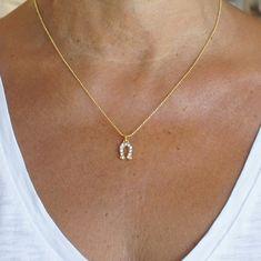 Horseshoe pendant necklace, Rhinestone Horseshoe necklace
