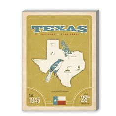 East Urban Home State Pride Print: Texas Vintage Advertisement on Gallery Wrapped Canvas Size: