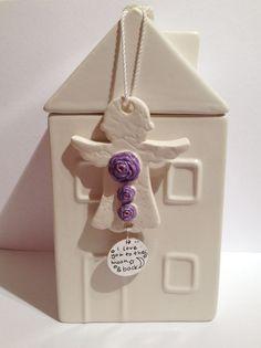 Handmade Ceramic Angel Purple flowers-To the by DelabudCreations Handmade Ceramic, Handmade Gifts, Cork City, Ceramic Angels, Jewelry Design, Unique Jewelry, Mother Gifts, Purple Flowers, Mobiles