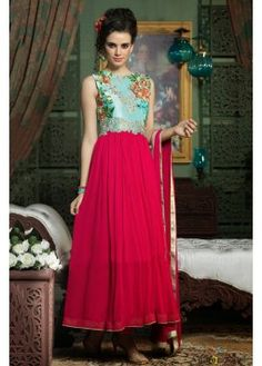Georgette Long Suit In Magenta and Blue Colour