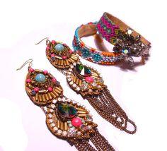 Handpainted Vintage Rhinestone Earrings