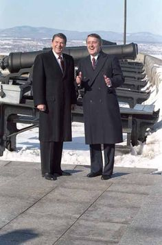 President Reagan and Prime Minister Brian Mulroney of Canada, visiting The Citadel in Quebec City, Canada. 3/18/85.