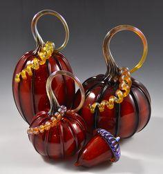 Pumpkins in Burnt Red by Drew Hine (Art Glass Sculpture) | Artful Home