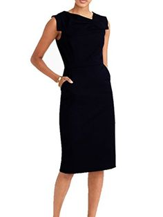 Blooming Jelly Women's Business Attire Ruched Sheath Dresses, Black, Medium