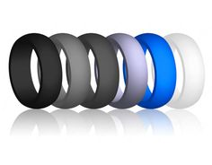 Dookeh Breathable Mens Silicone Wedding Rings Best for Workout Rubber Ring Bands For Men 1-4-7 Pack Black Blue Camo Engagement Band