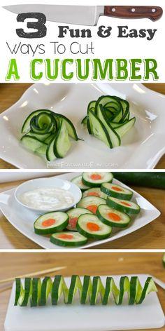 Super fun video tutorial! (less than a minute). I LOVE this site!! 3 Fun Ways To Cut A Cucumber by Fast Forward Fun
