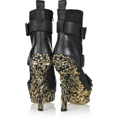 Alexander McQueen Floral-engraved leather boots