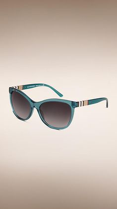 Teal Check Detail Cat-eye Sunglasses - Image 1 Burberry Sunglasses, Cat Eye  Sunglasses b3a53cb46c95