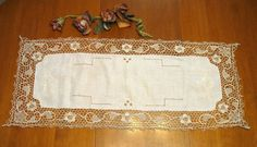 Vintage Ecru Runner Table Topper Shabby Chic by NormasTreasures