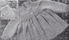Vintage Knitting Pattern Instructions for Babies first 6 mth lace matinee coat