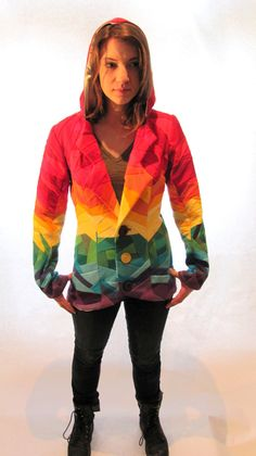 Up Cycled Rainbow Crazy Quilted Hooded Jacket Made by DIMclothing