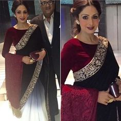 """Gorgeous Sridevi in Maroon velvet saree with shaded georgette pleats To purchase mail us at houseof2@live.com or whatsapp us on +919833411702 for further detail #sari #saree #sarees #sareeday #sareelove #sequin #silver #traditional #ThePhotoDiary #traditionalwear #india #indian #instagood #indianwear #indooutfits #lacenet #fashion #fashion #fashionblogger #print #houseof2 #indianbride #indianwedding #indianfashion #bride #indianfashionblogger #indianstyle #indianfashion"" Photo taken by…"