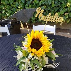 Graduation decorations Graduation Centerpiece Sticks, class of Graduation Party Decorations, Graduation Party Decor Graduation Table Decorations, Graduation Party Planning, Graduation Party Decor, Grad Parties, Graduation Centerpiece, Graduation Ideas, Graduation Celebration, College Graduation, Sunflowers And Roses