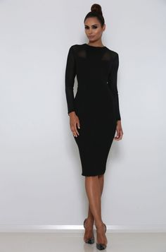 ABYSS BY ABBY VALLETTA DRESS  The Billion Dollar Babe Collection Bodycon Fit Back split on dress Back Zipper Linned Mesh detail on top and sleeve Model is wearing size XS (Height 175cm / 5' 9in, Bust 81cm / 32in, Waist 64cm / 24in, Hips 90cm / 35in)