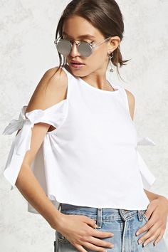 Forever 21 Contemporary - A woven poplin top featuring an open shoulder design, a round neckline, short self-tie bow sleeves, and a concealed back zipper.