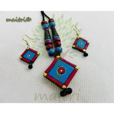 Terracotta Jewellery  -   Blue Red Square  www.facebook.com/maitri.crafts.maitri maitri_crafts@yahoo.com