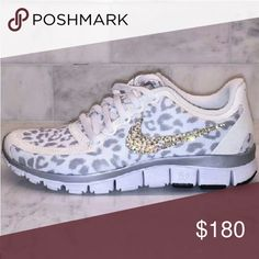 Super rare snow leopard swavorski nike free Mint condition. Come with box. Nike free 5.0. Snow leopard. Fresh swavorski crystals. Size 7.5 run like a 7. Will take $150 on Merc. Or ppal. Otherwise price is firm on here. Nike Shoes Athletic Shoes