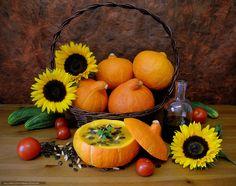 Pumpkin, cucumbers, vegetables, still life