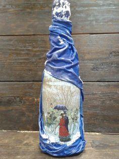 In vino veritas! Декор бутылки - драпировка тканью и декупаж. - Ярмарка Мастеров - ручная работа, handmade