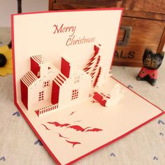 Christmas cottage handmade three-dimensional creative holiday custom diy paper carving congratulations Christmas New Year greeting card New Year Greeting Cards, New Year Greetings, Handmade Greetings, Greeting Cards Handmade, Diy Paper, Paper Crafts, Christmas Information, New Year Postcard, Pop Up Cards