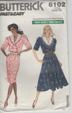 ON SALE  1980s Butterick Sewing Pattern No 6102 by jennylouvintage