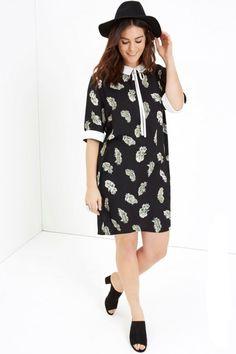 3e36529eae24db Little Mistress Girls On Film Curvy Feather Print Dress UK Size 22 TD075 CC  14 #