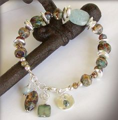 Artisan Glass Bracelet with Aquamarine and by jQjewelrydesigns