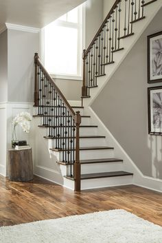 House Staircase, Staircase Remodel, Staircase Makeover, Flooring For Stairs, Wrought Iron Stairs, Stair Railing Design, Farmhouse Remodel, Spanish House, Interior Stairs