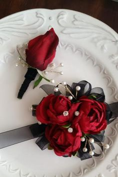 ON SALE Wrist Corsage Red & Black with Matching Boutonniere
