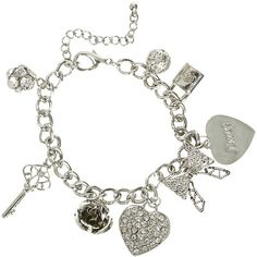 Eight Charm Bracelet ($7.50) ❤ liked on Polyvore featuring jewelry, bracelets, accessories, pulseiras, acessorios, rose charm, lobster claw clasp charms, charm bangle, heart charm bracelet and chain charm bracelet