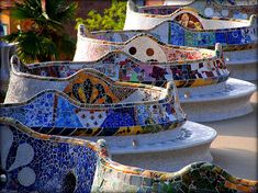 Decorative tile work. Parc Guell. Gaudi. Barcelona