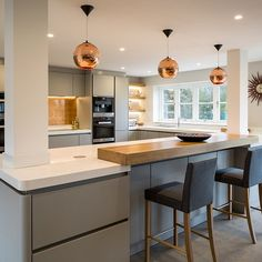 handleless kitchen in a stone grey satin lacquer finish, featuring corian Kitchen Room Design, Kitchen Family Rooms, Living Room Kitchen, Home Decor Kitchen, Kitchen Interior, Home Kitchens, Open Plan Kitchen Dining Living, Open Plan Kitchen Diner, Kitchen Layout Plans