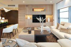 Wandfarbe Cremeweiß für moderne Atmosphäre - Wohnzimmer und offene ...