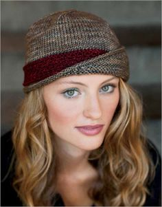 Lucy Hat with knit band and asymmetrical brim | Cloche Hat Knitting Patterns | Coupon code on site to save on pattern