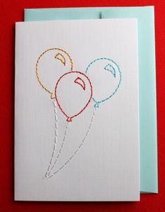 Heel erg makkelijk:  naald   draad   papier = leuke verjaardagskaart