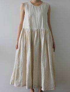 [Envelope Online Shop] Olga Lisette dress - Natural sleeveless linen dress/jumper with hidden side pockets, gathered skirt