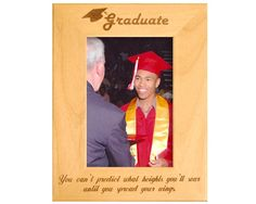 Looking for that perfect graduation gift for a loved one? This personalized graduation frame is the ideal way for your loved one to remember their accomplishment. This engraved Alderwood frame from Gift Works Plus is personalized an inspiring quote and Graduation Picture Frames, Graduation Pictures, High School Graduation Gifts, Personalized Graduation Gifts, Natural Beauty, Encouragement, Wings, Canning, Wood