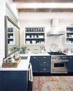 navy kitchen with white subway tile decor blue kitchen House Envy: A Rustic Manhattan Loft Kitchen Ikea, New Kitchen, Kitchen White, Kitchen Wood, Eclectic Kitchen, Loft Kitchen, Country Kitchen, Kitchen Sink, Vintage Kitchen
