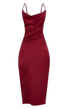 Burgundy Strappy Satin Cowl Midi Dress CR 4832 - combyne - Augen Make Up Classy Dress, Classy Outfits, Evening Dresses, Prom Dresses, Formal Dresses, Dress Outfits, Fashion Dresses, Frack, Mi Long
