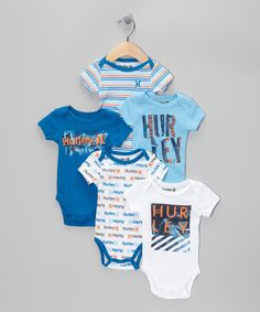 Take a look at this White & Blue Bodysuit Set by Hurley on #zulily today!